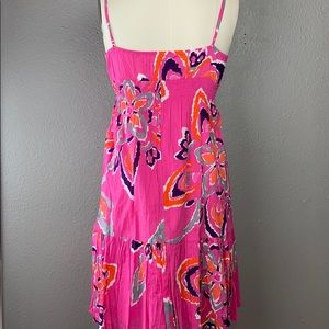 Old Navy Dresses - Fuchsia Hibiscus summer floral Midi Dress Old Navy